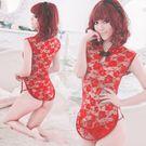 《YIRAN MEI》經典復古!透明蕾絲柔紗旗袍(紅)
