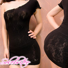 (送性感配件)美國selebritee-性感斜肩小洋裝晚禮服215黑
