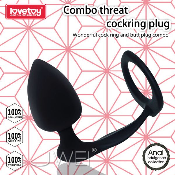 (阿性聖誕慶)Lovetoy.Combo threat cockring plug 鎖精環+桃型肛塞