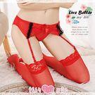 美人爭豔‧蕾絲花邊撞色吊襪帶+大腿蕾絲絲襪(紅)